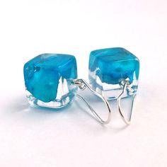 Hydrangea Resin Earrings  Blue Resin by SpottedDogAsheville, $39.00