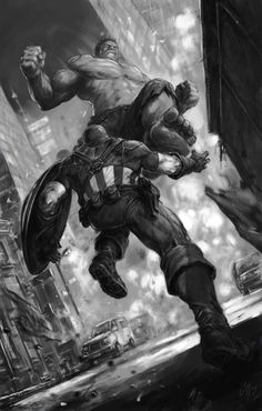 #Hulk #Fan #Art. (Captain America vs HULK) By: Tomasz Ściolny. (THE * 5 * STÅR * ÅWARD * OF: * AW YEAH, IT'S MAJOR ÅWESOMENESS!!!™)[THANK Ü 4 PINNING<·><]<©>ÅÅÅ+(OB4E)