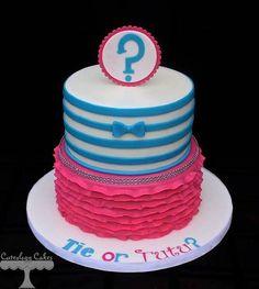Gender Reveal cake: Tie or Tutu?