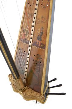 Larger View of Single Action Pedal Harp Made by Barry of London - Soundboard