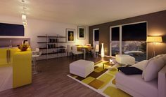 Vue #3d #interieur d'un #logement neuf du programme ATYPIK à Issy-les-Moulineaux (92)