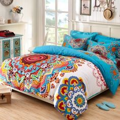 Rust Orange Blue Yellow and White Tribal BOHO Style Exotic Gypsy Themed Indian Pattern Multi-color Circle Print Full, Queen Size Bedding Sets Girls Comforter Sets, Queen Bedding Sets, King Comforter, Bohemian Style Bedding, Boho Style, Hippie Style, Gypsy Style, Hippie Chic, Boho Chic