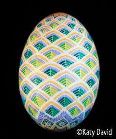 Friday Egg: Morning Forest Modern Pysanky in Yellow, Blue, Green ©Katy David