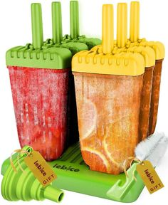 Popsicle Molds Set 6 Ice Pops Silicone Recipes Book Summer Kids Mess Free NEW  #lebice