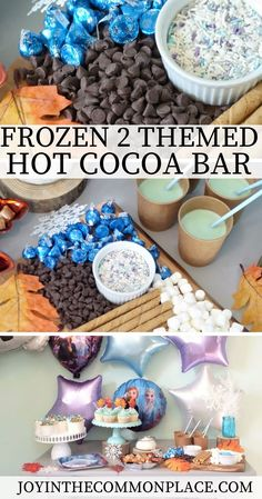 Are you looking for Disney Frozen party ideas? Setting up a Frozen 2 party doesn't need to take a lot of time or money! Discover how to set up a simple hot cocoa bar, make a yummy Frozen 2 chex mix recipe and find out where to buy Frozen 2 party supplies! | Disney Frozen 2 | Party Theme | Ana and Elsa | Olaf | Birthday Party | Party Decorations | Frozen 2 Party Supplies |  Sponsored by @anagramballoons #ad  Sprinkles, treat cups & cupcake liners: @sweetsandtreats #ad
