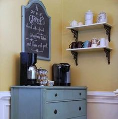 Coffee Bar Server Cabin Coffee, Coffee Bar Home, Coffee Shop, Coffee Bars, Old Dressers, New Home Designs, Bar Designs, Luxury Homes Interior, Kitchen On A Budget
