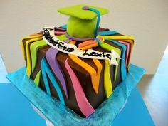 rainbow zebra print graduation cake by slice custom cakes