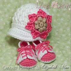 "Baby booties & Hat ""Little Sport Set"" by Elizabeth Alan ~ The Lovely Crow  ~ Beautiful!"