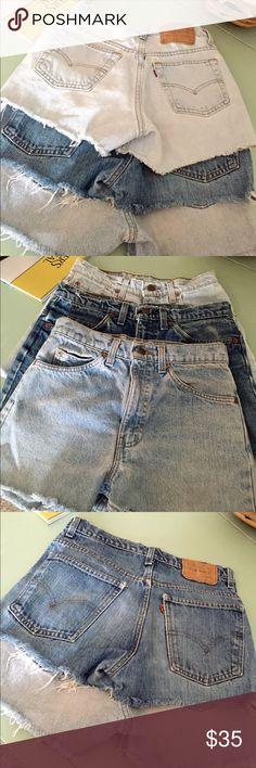 Set of 3 Vintage High Waisted Levi's Jean Shorts 3 for 1 ladies!!! Set of 3 vintage high waisted jean shorts. Levi's. Size 25 Levi's Shorts Jean Shorts