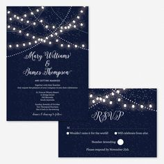 Wedding Invitation Card Hanging Fairy Lights by PaperBoundLove on Etsy https://www.etsy.com/listing/218842876/wedding-invitation-card-hanging-fairy