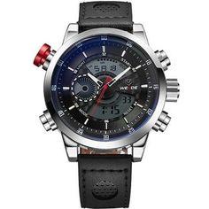 WEIDE Genuine Leather Watches Men Quartz Digital Fashion Military Casual Sports Watch Luxury Brand Relogio Outdoor Wrist -$75.78