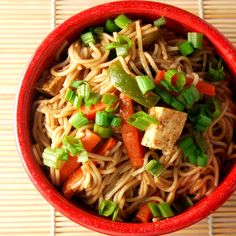 Thai Noodles and Tofu with Spicy Peanut Sauce
