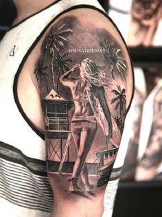 A well detailed surfer girl on the beach tattoo. The design looks awesome and full of life as the surfer is seen walking lazily into the beach shore.