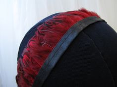 Red and black feather trim - $13.95 per yard