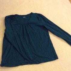 Loft long sleeve shirt Loft green cotton long sleeve shirt with neck detail LOFT Tops