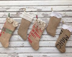 upcycled burlap coffee bags | Upcycled coffee bag burlap stocking s with vintage crochet trim one of ...