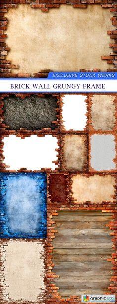 Brick wall grungy frame 11X JPEG  stock images