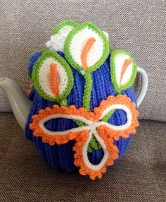 Knitted and crocheted hand tea cozy cosie floral by MagicFibre