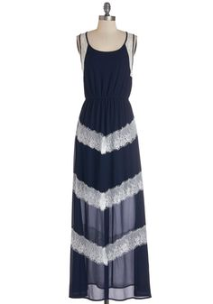 Plethora of Panache Dress. While wandering the music festival grounds in this navy maxi dress, accompanied by fringed bootie and a denim jacket, its clear youve got an abundance of stylish flair! #blue #modcloth