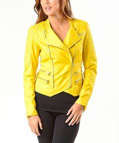 Yellow Faux Leather Moto Jacket