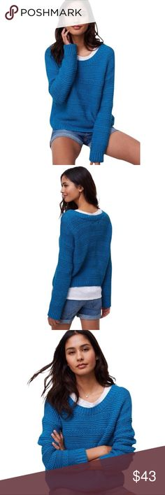 LOFT Stitch Stripe Sweater With textured stripes, this cotton knit's graphic cool goes deeper than surface level. Never worn!    Ballet neck.    Long sleeves.    Color: Australian Waters    Ribbed neckline, cuffs and hem.    o 100% Cotton  o Tags attached! LOFT Sweaters