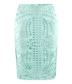 H AQUA PASTEL MINT BLUE EYELET LACE EMBROIDERED SATIN WIGGLE PENCIL SKIRT 6 36