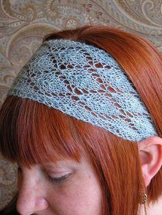 Sky Blue Lace Knit Headband by KnitPurlSquirrel on Etsy