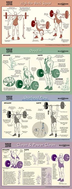 Know your lifts! Proper form for barbell squat, deadlift, overhead press and power clean. #benchpressweighttraining
