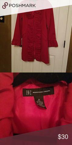 Coat Red trench coat with ruffles INC Jackets & Coats Trench Coats