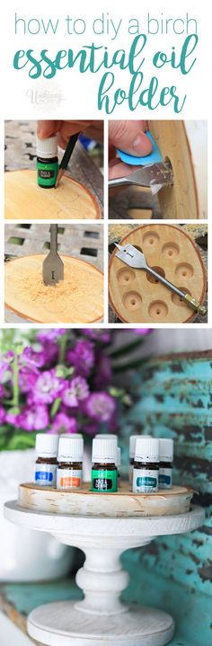 DIY a birch wood slice essential oil holder!to DIY a birch wood slice essential oil holder!