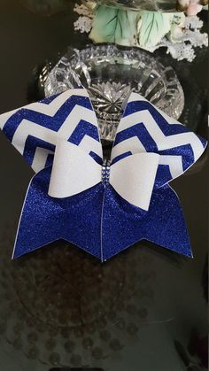 Royal/White Chevron Glitter Cheer Bow by GlamourBowsByAnna on Etsy