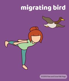 Migrating Bird - easy yoga poses for kids.
