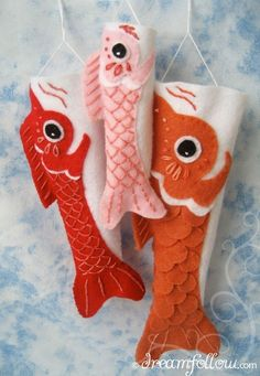 Felt koi fish flags (!)