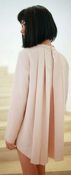 COS Pink Back Pleated Blouse by Maffashion