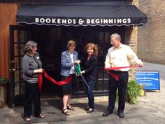 GRAND OPENING IN EVANSTON Bookends & Beginnings, Evanston, Ill.'s new independent bookstore, is opening for business with a celebration on Saturday, June 14. On June 12, city officials welcomed booksellers to the local community with a ribbon-cutting ceremony. Pictured (l. to r.), Evanston Chamber of Commerce executive director Elaine Kemna-Irish, Mayor Elizabeth Tisdahl, and Bookends co-owners Nina Barrett and Jeff Garrett.
