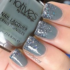 """Instagram media by naildecor - Grey Glitter Gradient! Don't see that often huh? haha. I used @motivescosmetics by @lala and @lorenridinger's Swagger and Ardenes """"Black Masquerade"""" glitter! Sooooo beautiful in person...I'll post a video later on✨"""