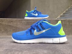 3bb848378608 Women s Nike Free Run Running Jogging Training Shoes Customized With  Swarovski Elements Crystal Rhinestones Blue Green White Black
