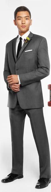 Carl's tuxedo....a very suit-like Vera Wang Gray Tux