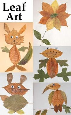 Leaf Art ~ every kid will love making art with leaves after seeing these creations *card stock *glue *google eyes & Lots of leaves