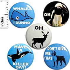 Animal Puns 5 Pack Buttons Backpack Pins Funny Oh Sheep Whale Have A Killer Day Gift Set Funny Buttons, Cool Buttons, Bad Puns, Funny Puns, Hilarious, Work Jokes, Pun Gifts, Animal Puns, Work Gifts