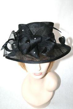 New Church Hat Kentucky Derby Hat Black Sinamay Dress Hat  4a575714ca07