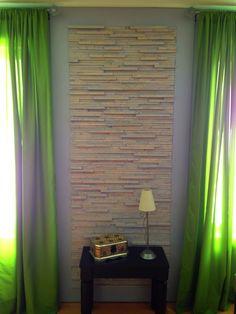 Mur fabriqué avec du bois d'allumage. Coût de la transformation 35$$$ c'est tout!!!