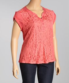 Love this Coral Floral Crochet Notch Neck Top - Plus on #zulily! #zulilyfinds  $16.99