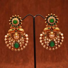 Anvi's gorgeous emerald polki ear danglers with a big polki pearl at the center - Online Shopping for Earrings by Anvi Collections