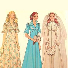 Vintage 1970s Wedding Gown Pattern Uncut by RebeccasVintageSalon, $12.00