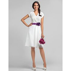 A-line V-neck Knee-length Chiffon Bridesmaid Dress With Flower(s) (736802) – USD $ 67.99  with blushing pink and white belt or jade and white