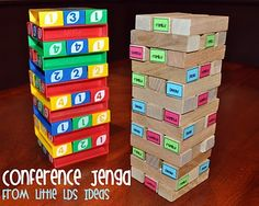 Little LDS Ideas: Conference Jenga. I like the idea of using jenga to pick primary songs or learn the words