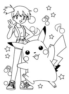 Misty And Pikachu Coloring Page