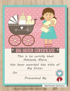 Personalized Big Sister Certificate, Digital Printable, Girl Custom Cartoon Portrait, Poster, Wall Art, Pink Decoration, 8x10 Printable