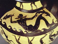 Detail Etruscan painted pottery; Etruscan sailor turned into a dolphin by divine venegance bringing vine to Etruria from Troad